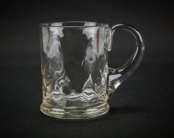 4 Vintage Medium Punch Eggnog BEER GLASSES Wavy 0.5 Pint Possibly Webb Serving Elegant Art Deco Crystal Christmas Old Gift