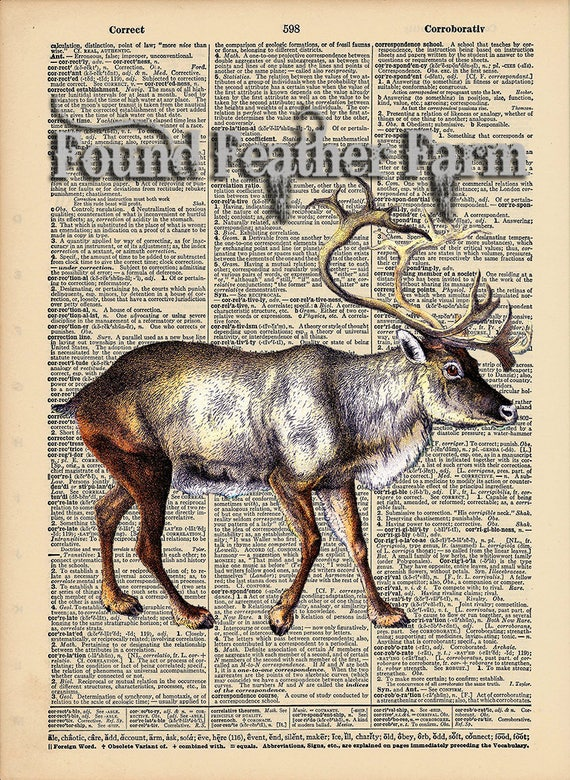 "Vintage Antique Dictionary Page with Antique Print ""Caribou"""