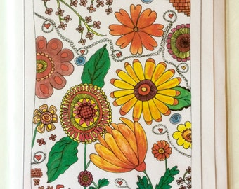 Flowers - A5 Blank Greetings Card From Original Watercolour And Ink