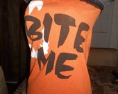"""Ladies orange and black tube top halloween with vampire fangs reads """"BITE ME""""  Size M"""