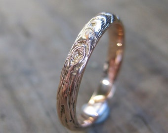 Twig fall wedding band womens rose gold woodgrain ring Thinnest PLYWOOD 3mm 14kt pink Made To Order