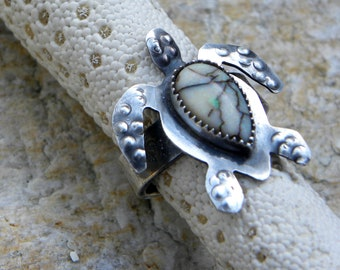 sea turtle sterling ring, monarch opal, totem animal