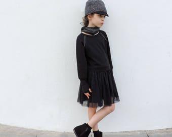 Toddler Black Tutu Dress, Toddler Tulle Dress, Modern Girl Dress, Toddler Long Sleeves Dress, Baby girl Dress 18 month 2T 3T - by PetitWild