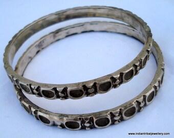 vintage antique tribal old silver bangle bracelet 2pc set gypsy jewellery