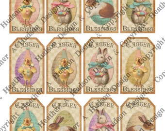 12 Victorian Vintage Easter Tags Shabby Chic Bunny Chics Digital Collage sheet Printable