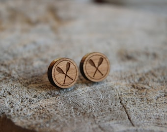 mignonnes puces en bois pagaie // cute studs earrings wood paddle (bo-1067)