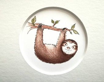 Sloth print, cute sloth illustration, sloth picture 6 x 4 or 7 x 5 inch grey or white mount