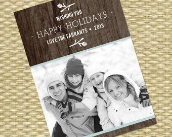 Photo Christmas Card Photo Holiday Card Christmas Photo Card Custom Christmas Card Rustic Christmas Card Printable or Printed
