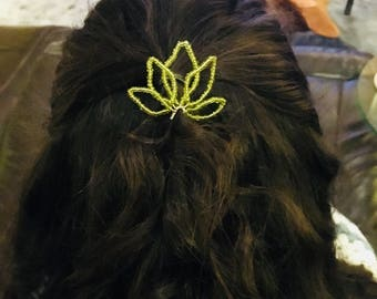Beaded Lotus Hair Pins - Floral Hair Pins, Bridesmaid Hair Pins