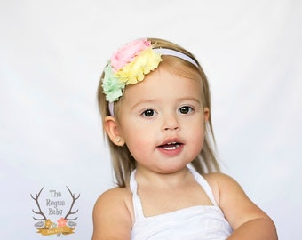 Spring Baby Headband - Pastel Yellow Mint Pink - Newborn Infant Baby Toddler Girls Adult Wedding Spring Easter