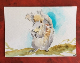 Squirrel ORIGINAL Miniature Watercolour ACEO Wildlife art Nature Watercolor painting For him For her Home decor Wall art Gift Idea