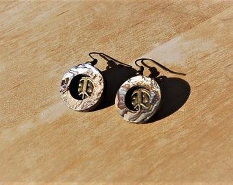 Abalone Peace Sign Earrings