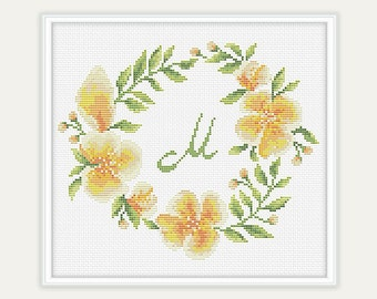 Cross stitch Monogram - Gift - Floral Cross Stitch Pattern -  Embroidery - Home Décor - PDF - INSTANT DOWNLOAD