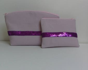 Set of pouches for makeup pouch decorated with a Ribbon with fuchsia sequins and her purse