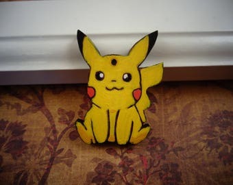 Pikachu Pendant, Pokémon Pendant, Sitting Pikachu Charm, Wooden Pendant, Art Bead, Painted Pendant, Pyrography Pendant, Scroll Saw Pendant