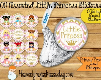 100 Chocolate kiss stickers Little Princess Baby shower stickers Baby Princess Chocolate Stickers Princess Kisses Labels Party Favors