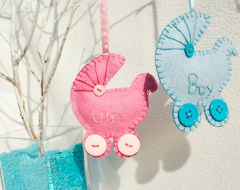 Personalized Felt Pram ornament, Baby girl or boy, expect a baby, baby shower, It's a boy, It's a girl, Newborn, congratulation,maternity