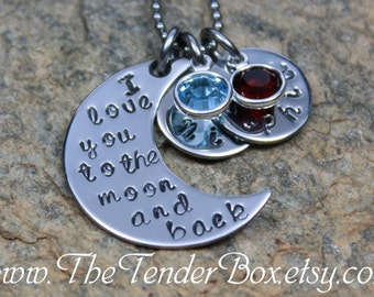 personalized necklace I love you to the moon and back hand stamped moon and name pendant necklace PXBCX
