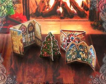 Christmas Miniature ADVENT CALENDAR Set – 1:12 Printable Santa Claus Christmas Tree Christmas Dollhouse Miniature Advent Calendar DOWNLOAD