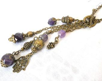 bohemian amethyst necklace tassle necklace amethyst stone necklace purple gemstone necklace stone boho necklace
