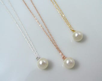 Single pearl necklace, gold pearl necklace, rose gold pearl necklace, silver pearl necklace, wedding jewelry, bridesmaid gift
