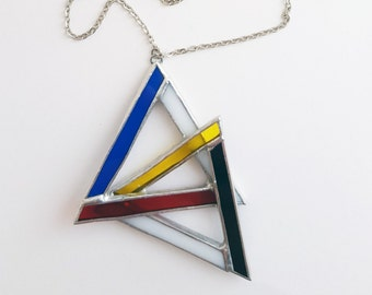 Stained glass pendant-triangles-Mondrian-blue-red-yellow-white-black-modern-hipster-geometrical