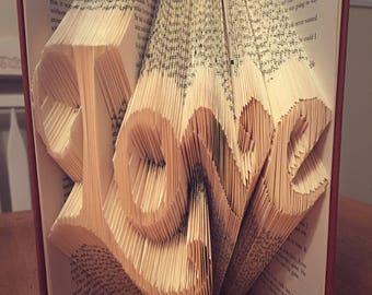 Folded Book Art Love-Custom fabric options