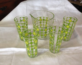 Vintage RETRO Pitcher and 4 drinking Glasses Green Flowers