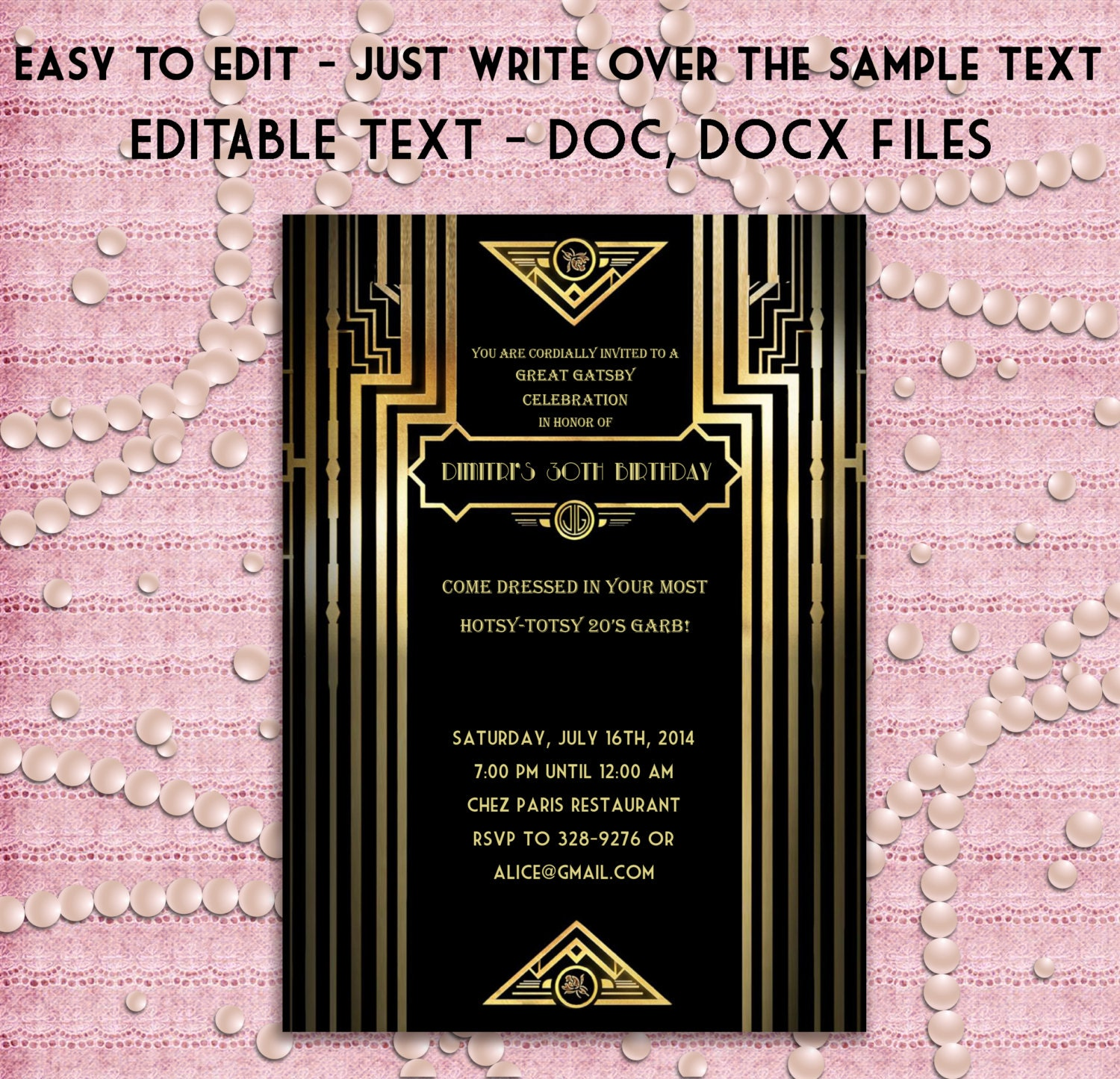 Prom invitation templates pasoevolist great gatsby style art deco party invitation prom birthday stopboris Image collections