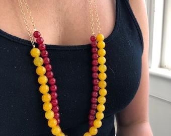 Statement Necklace • Jade • Jade Necklace • Boho Necklace • Beaded Necklace • Layered Necklace • Long Necklace • Layering Necklace