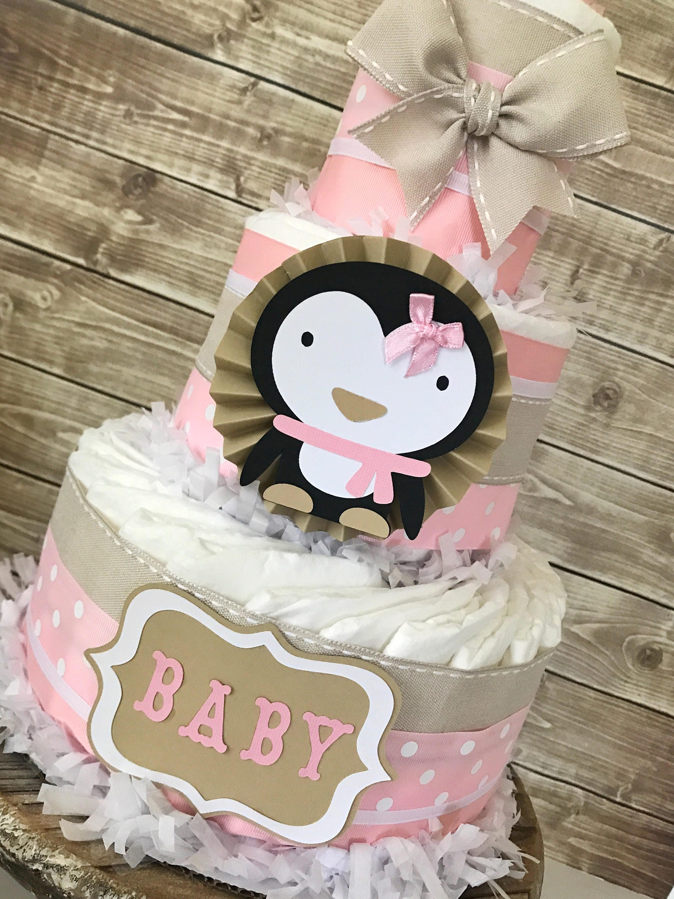 Penguin Diaper Cake In Mocha, Pink And White, Penguin Baby Shower  Centerpiece For Girls, Winter Theme Baby Shower Decorations