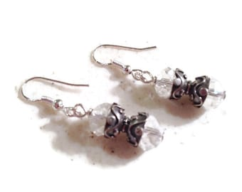 Crystal Earrings - Clear Jewelry - Sterling Silver Jewellery - Beaded - Fashion - Chic - Luxe