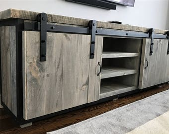 Tv Board Industrial rustic industrial barn board entertainment center tv stand