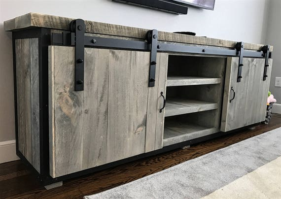 rustic industrial barn board media stand w sliding doors. Black Bedroom Furniture Sets. Home Design Ideas
