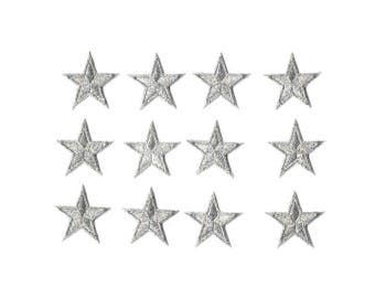 ONE DOZEN - 12 - Embroidered Silver Edged Stars Iron On Patches - 1 5/8""