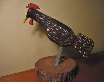 Quirky Folk Art Hand Painted Rooster, Carved Wood and Metal