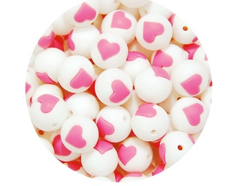 5 Pink Silicone Teething Beads 15mm, silicone nursing beads, round silicone beads, heart beads, necklace beads, pink & white #294007