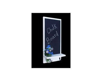 Chalkboard with Shelf , Mason Jar Vase and Black Metal Key Hooks