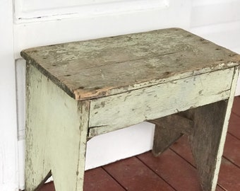 Green Chippy Painted Bench