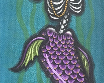 "4x12"" Day of the Dead giclee print, ""Sirena 1"""