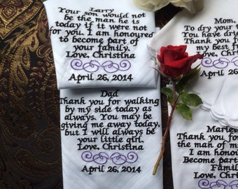 Set of four 4 personalized wedding handkerchiefs for the parents and parents-in law.
