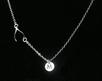 Personalized Wishbone necklace,hand stamped initial,custom font,monogram necklace,Sideways wishbone,lucky charm necklace,Graduation gift