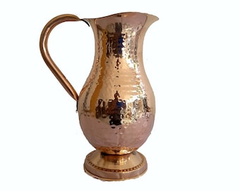 100% Pure Copper Jug (in/ out) Copper Pitcher 50 oz Ayurveda Yoga Health by Handicraft-World