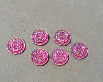 12mm Pink AB Medallion Resin Cabochon