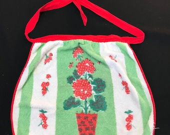 Vintage Ladies' White with Red Geraniums Terry Cloth Half Apron