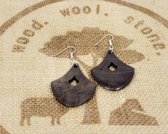 Black Walnut Wood Earrings / Wood Dangle Earrings / by wood.wool.stone