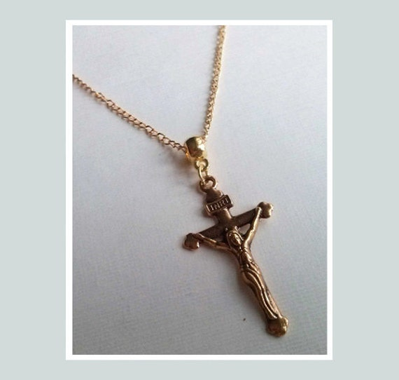 Gold cross necklace catholic necklace christian necklace mozeypictures Image collections