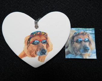 Pet Portrait Ornament Hand Painted and Made to Order Ceramic Heart Furry Family Members by Pigatopia