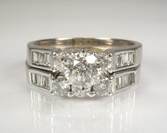 Vintage Diamond Wedding Set - 1.87 Carat Total Weight - Appraisal Included 6050.00 USD