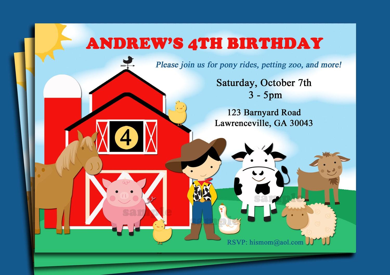 Barnyard Animal Farm Birthday Invitation Printable or Printed